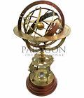 "Large Armillary Big Globe Brass 18"" Astrolabe Globe Zodiac Engraved Wooden Base"