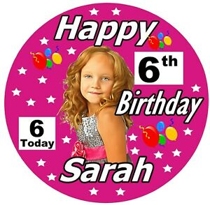 GIRLS PERSONALISED BIRTHDAY BADGE, (I AM 2 TODAY) ANY AGE, PHOTO, ANY COLOURS