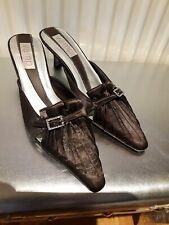 Ladies Brown Satin Mules Size 3