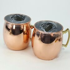 Moscow Mule Drink Mugs Cup Set 2 Copper & Brass Tone Metal NEW Sealed