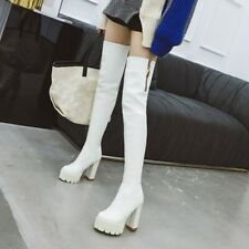 Womens Over Knee Thigh Boots Platform High Block Heel Gothic Punk Shoes Outdoor