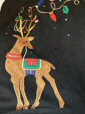 TIARA INTERNATIONAL Womens Large UGLY CHRISTMAS Sweater VGC Reindeer Black