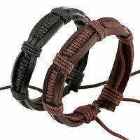 Fashion Men Women Punk Leather Weaved Bangle Cuff Bracelet Wristband Adjustable