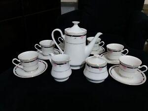 Tea Set Porcelain Pink Flowers Decorative 17 Pcs