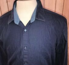 Hugo Boss Sz XXL Slim Fit Shirt Button Front Solid Blue LS Cotton