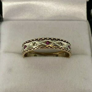 Vintage 9ct Gold Hallmarked Spinel Full Eternity Ring. Goldmine Jewellers.