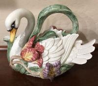 Vintage Fitz and Floyd Tulip Swan Porcelain Teapot 38 oz 1995 Excellent