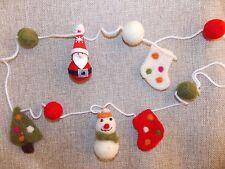 CHRISTMAS GARLAND bunting Santa & Snowman handcrafted WOOL & FELT decoration