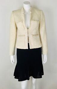 J.Crew Women's Jacket Tweed Gold Metallic Sz 2 Wool Blend Pockets Work Career