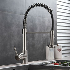 Kitchen Sink Faucet Pull Down Sprayer Brushed Nickel Mixer Tap Deck Mounted