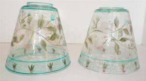 Clear Tinted Blue Glass Light Lamp Shades Etched Floral Leaves Crackle Look Smal