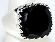 Mens Sterling SILVER Rings Facet Cut BLACK Onyx 925 Ring All Size 6½, N to 11, W