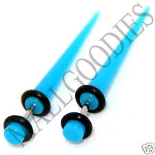 0368 Fake Cheaters Faux Illusion Ear Stretchers Tapers Plugs 6G Turquoise Blue