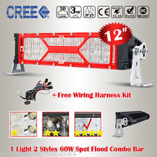 Auxbeam Red Mask Frame 12 inch 60W CREE LED Light Bar Combo DRL Offroad VS Osram