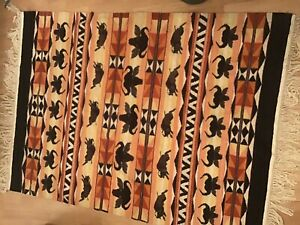 Stunning Buffalo  Special Tapestry rug carpet Vintage Hand Woven African Lesotho
