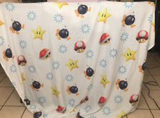 VGUC-Official Nintendo Full Fitted  Sheet Mario Brothers or Craft Fabric WHITE