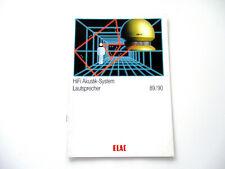 ELAC Katalog Prospekt 1989 / 90 Hifi Technik Broschüre HI-FI Lautsprecher Boxen