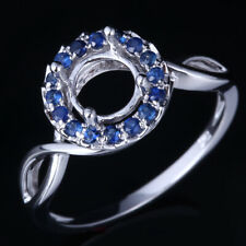 Sapphires Semi-mount Engagement Ring 6.5-7mm Round Cut #6.5 Solid 10K White Gold