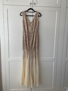 Goddiva Champagne Sequin Chiffon Long Maxi Evening Dress Bridesmaid Prom Size 10