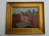 FINEST EDWARD WASSER PAINTING WPA STYLE URBAN REGIONALISM CHICAGO ROOF TOPS MOD