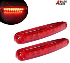 Two Red Super Bright 9 Diodes Slim Line Tail Marker Lamps Car Van Boat 100mm