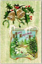 "Vintage 1910s ""HAPPY CHRISTMAS"" Embossed Postcard Winter Scene / Holly"