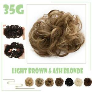 Messy Curly Fake Hair Bun Piece Extensions Hairpiece Hair Clip In Scrunchie US