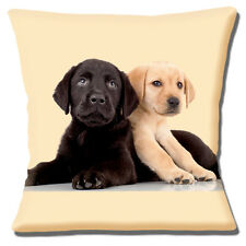 "NEW CUTE BLACK AND YELLOW LABRADOR PUPPIES ON CREAM 16"" Pillow Cushion Cover"