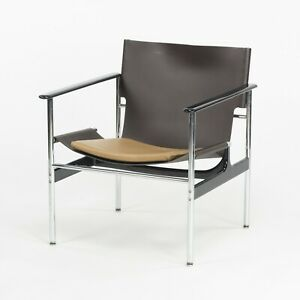 2020 Charles Pollock for Knoll Sling Arm Chair Brown and Tan Leather Chrome 657