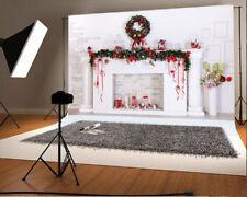 Vinyl 7x5ft Photo Backdrops Christmas Fireplace Wreath Photography Background