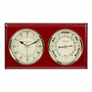 SMALL WALL BAROMETER AND CLOCK  RED WOOD PIANO FINISH PLAQUE. NEW