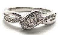 Sterling Silver 925 Platinum Plated Diamond Pave Petite Elegant Cocktail Ring 7