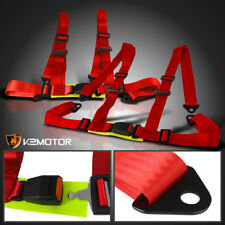 Pair JDM X2 4 Point Red Seat Belts Racing Safety Harness Buckle 4Pt Left+Right