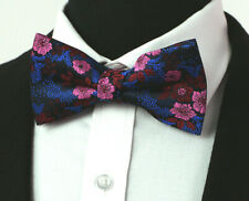 Fuschia Pink PreTied Premium Bow Tie Silk Adjustable Paisley Blue Floral