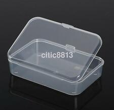 2Pcs Clear Plastic Transparent With Lid Storage Box Collection Container New US