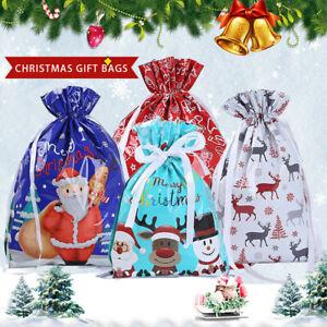 5/10PCS Christmas Sacks Reusable Large Drawstring Wrap Present Gift Party Bags