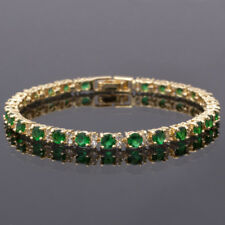 Fashion Jewelry Round Cut Green Emerald Tennis Statement Fashion Bracelet