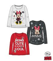 Girls Children Disney Minnie Mouse Long Sleeve Tee Tshirt Top Age 2-8 years