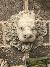Lion Head stone garden wall ornament, water feature spout pond king of jungle