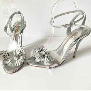 Sophia Webster Silver Flower Heels 39 size 8-8.5