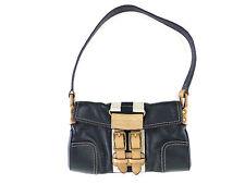 Tommy Hilfiger Black Tan Leather Small Shoulder Bag Purse Satchel