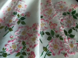 BEAUTIFUL LARGE VINTAGE HAND EMBROIDERED TABLECLOTH~PINK WILD RAMBLING ROSES.