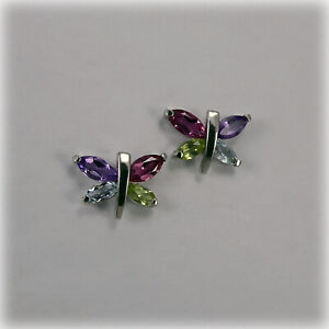 9ct Gold four gemstone Butterfly Stud Earrings