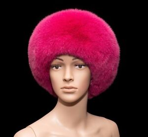 Saga Furs Genuine Dyed Blue Fox Hot Pink Fur Handmade Beanie Cossack Hat