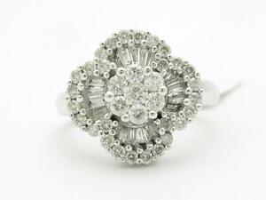 14k Solid White Gold Genuine Diamond Clover Design Baguette Channel Set Ring