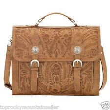 American West Briefcase Stagecoach Tooled Leather Tan