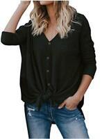 MIHOLL Womens Loose Blouse Short Sleeve V Neck Button Down T, Black, Size Medium