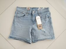 Levi's Ladies Mid Length Distress Stretch Denim Shorts   Size: 27