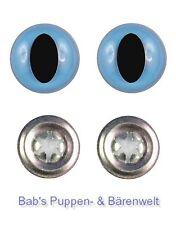2 Paar Sicherheitsaugen Katzenaugen lange Pupille Hellblau 9 Mm