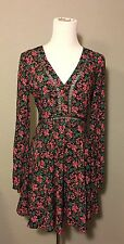 Forever 21 L/S Floral Print V Neck Lattice Detail Empire Mini Dress Sz M NEW
